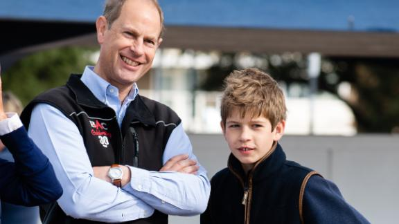 The Queen's son Prince Edward poses with his son, James, Viscount Severn, in September 2020. Prince Edward and his wife Sophie, the Countess of Wessex, have two children: James and Lady Louise Mountbatten-Windsor.