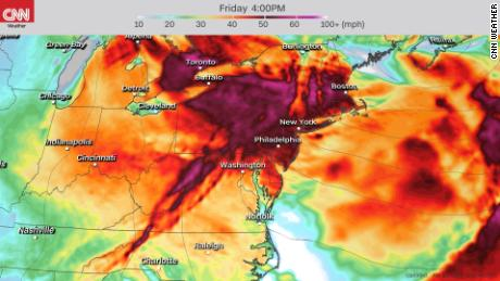 Forecast wind gusts Friday afternoon