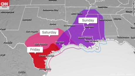 Storm Prediction Center's severe weather outlooks Friday through Sunday