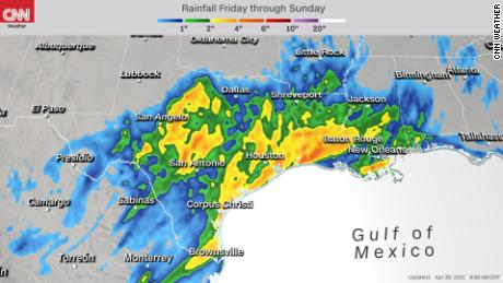 Forecast rainfall accumulation through Sunday