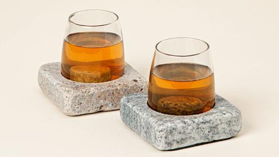 Uncommon Goods Wine Chilling Coasters With Glasses, Set of 2