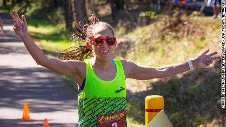 Linden crosses the finish line at last month's event.