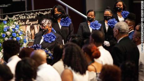 Ushers line up next to the casket of Ma'Khia Bryant during her funeral at the First Church of God on Friday.