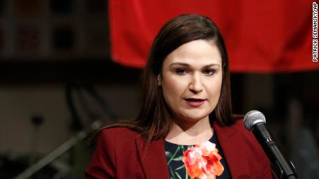 Then-Rep. Abby Finkenauer, D-Iowa, introduces Democratic presidential candidate, former Vice President Joe Biden during a campaign event, Friday, Jan. 3, 2020, in Independence, Iowa.