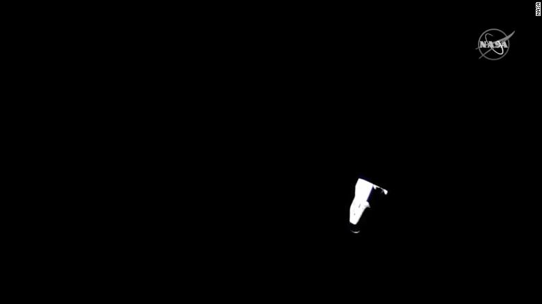 """SpaceX Crew Dragon capsule """"Resilience,"""" carrying four NASA astronauts, departs the International Space Station."""