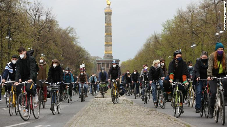 Thousands of cyclists joined the protests