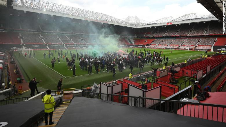 Supporters protest against Manchester United's owners, inside English Premier League club Manchester United's Old Trafford stadium.