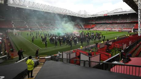 Supporters are protesting against Manchester United's owners inside the club's Old Trafford Stadium on 2 May 2021 ahead of their English Premier League match against Liverpool.