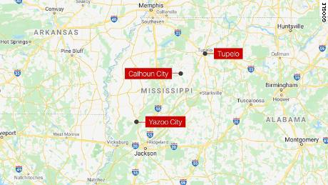 At least three cities in Mississippi reported damage after a line of severe storms and tornadoes tore through the state Sunday.