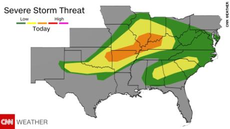 Severe weather risk increases in the Midwest and South