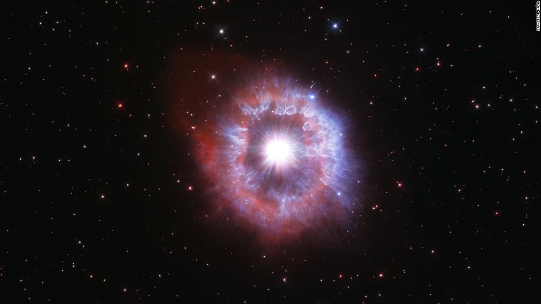 Hubble took this image of the rare blue variable star AG Carinae, located 20,000 light-years away from Earth in the Milky Way galaxy, to celebrate the 31st anniversary of its launch. The star has experienced several explosions that created its distinctive halo.