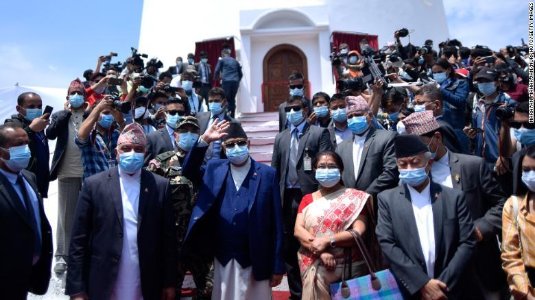 Prime Minister KP Sharma Oli inaugurates a newly constructed Dharahara in Kathmandu, Nepal on April 24, 2021.