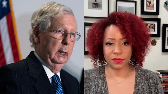 Senate Minority Leader Mitch McConnell is asking schools to stop using the 1619 Project, a curriculum aimed at reframing US history around the date of August 1619 when the first slave ship arrived to what would become the US. CNN's Brianna Keiler spoke with the project's founder Nikole Hannah-Jones to get her reaction.