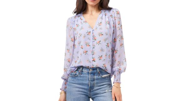 1.State Smocked Detail Button-Up Blouse