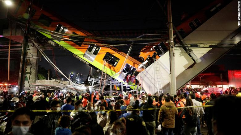 Emergency crews at the collapsed overpass at Olivos station in Mexico City, Mexico, on May 3.