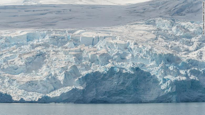 Ice cliffs are shown on January 1, 2020 in King George Island, Antarctica. The fate of Antarctica's ice sheets is key to determining how much sea levels will rise in the future.