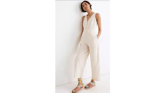 Linen-Blend Sleeveless Button-Front Jumpsuit