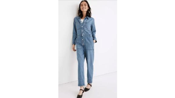 Denim Relaxed Coverall Jumpsuit in Glenroy Wash