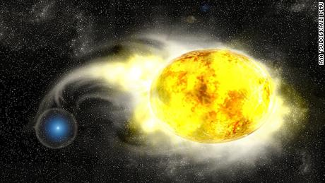 Artistic representation of a star stealing materials from its companion star — a potential scenario that could explain 2019yvr's lack of hydrogen.