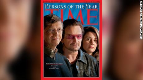 Bill et Melinda Gates ont été les personnes TIME de l'année avec Bono en 2005.