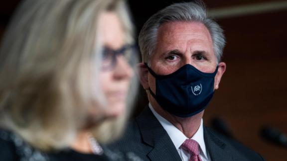 Kevin McCarthy, R-Calif., and Liz Cheney, R-Wyo., conduct a news conference in the Capitol Visitor Center after a meeting with the House Republican Conference on Wednesday, September 23, 2020.
