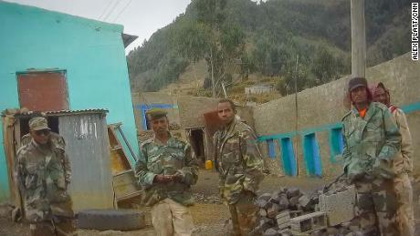 Eritrean soldiers are captured on a hidden camera at a checkpoint in the hills above Adigrat, as they block access to the road to Axum.