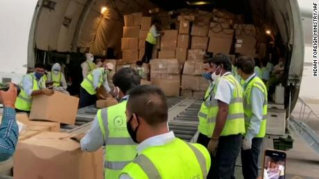 Covid aid supplies from Thailand and the United Arab Emirates arrive in New Delhi, India, on April 29.