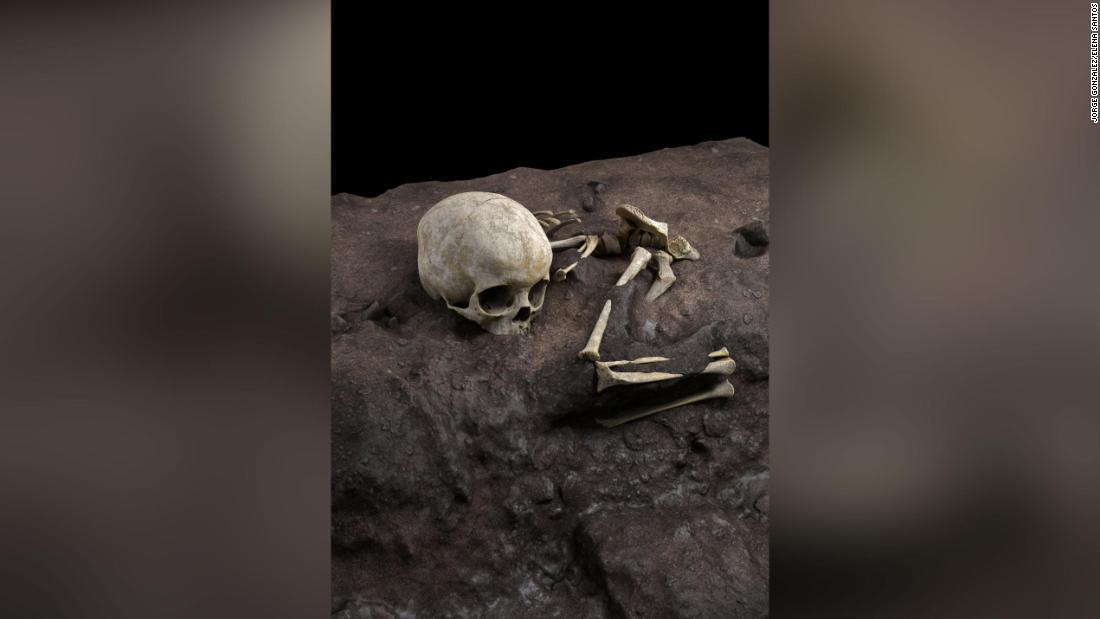 This virtual reconstruction shows the position of a fossil in a burial pit. The toddler was laid to rest 78,000 years ago on a pillow in a cave in eastern Kenya. This is thought to be the oldest human burial ever found in Africa.