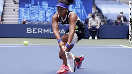 Osaka hits a return against Victoria Azarenka during the final of the 2020 US Open.