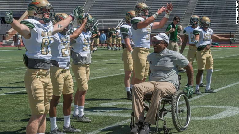 Timothy Alexander was motivating members of the UAB Blazers football team in 2017. He was hired as the team's director of character development.