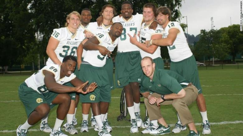 Timothy Alexander (center back) as a freshman in 2011 with the University of Alabama, Birmingham football team.