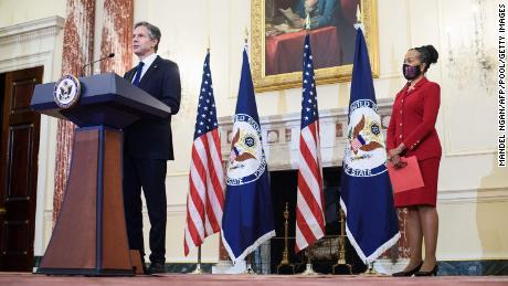 Secretary of State Antony Blinken speaks during the announcement of former Ambassador Gina Abercrombie-Winstanley as first the chief diversity officer in the Benjamin Franklin Room of the State Department in Washington on April 12, 2021.