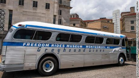 A restored vintage Greyhound bus is unveiled at the Freedom Rides Museum in Montgomery, Ala., during a commemoration of the 60th anniversary of the Freedom Rides on Tuesday May 4, 2021.