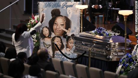 Family and friends attend a funeral service for Ma'Khia Bryant at the First Church of God on April 30, 2021 in Columbus, Ohio.