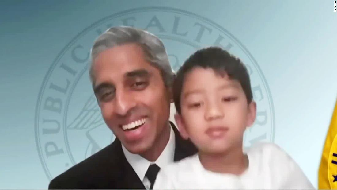 US Surgeon General's son crashes his live interview on CBS