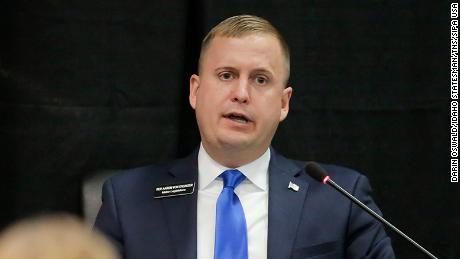 Idaho Rep. Aaron von Ehlinger (R-Lewiston) answers questions under oath during an Ethics and House Policy Committee hearing regarding allegations of sexual misconduct on Wednesday, April 28, 2021 in the Lincoln Auditorium at the Idaho Statehouse in Boise. (Photo by Darin Oswald/Idaho Statesman/TNS/Sipa USA)
