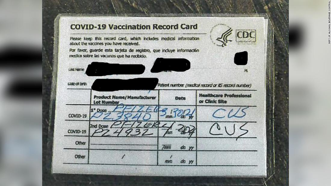 California bar owner charged with multiple felonies for allegedly selling fake Covid-19 vaccination cards, officials say