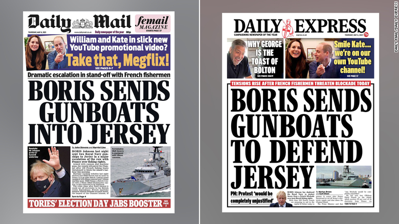 The Jersey fishing dispute features on the front pages of the Daily Mail and the Daily Express on Thursday, May 6.