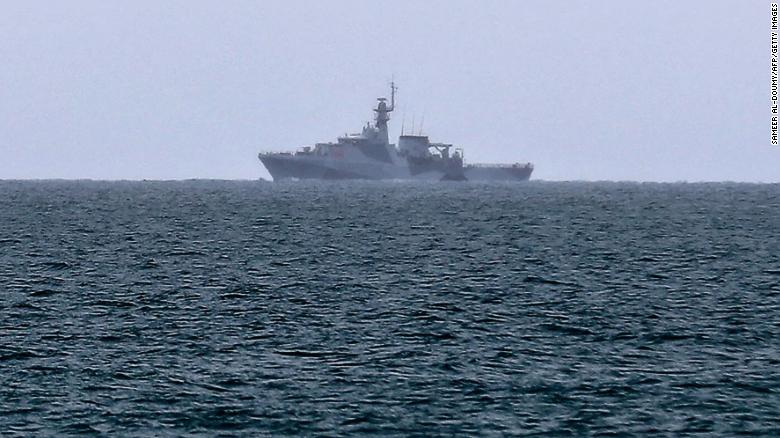 A British Royal Navy vessel patrols the waters off Jersey on May 6 to monitor the protest by French fishermen.