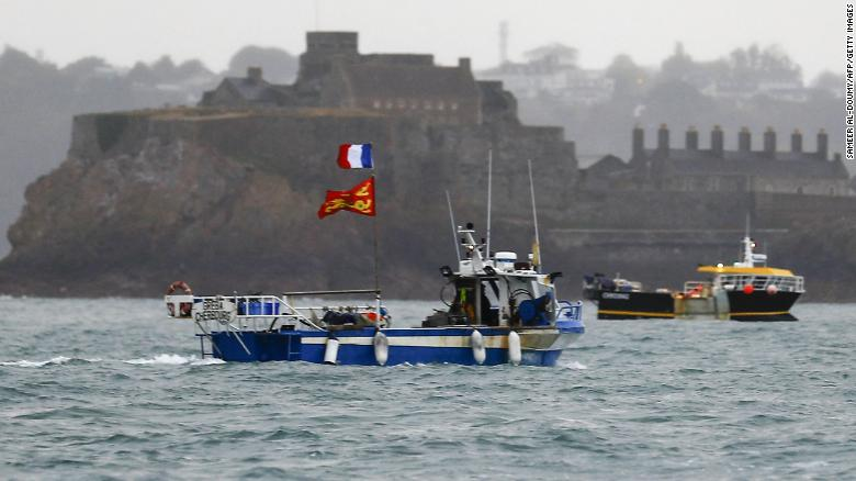 French boats protest about fishing rights in front of the port of Saint Helier on Thursday May 6.