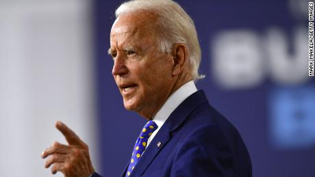 Then-presidential candidate Joe Biden delivers a speech on July 28, 2020 in Wilmington, Delaware.