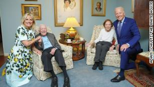 The Carter Center posted this photograph of President Joe Biden and first lady Jill Biden meeting with former President Jimmy Carter and former first lady Rosalynn Carter at their home in Plains, GA last week.