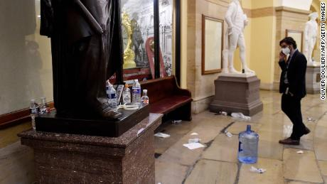 Damage is seen inside the US Capitol building early on January 7, 2021 in Washington, DC.