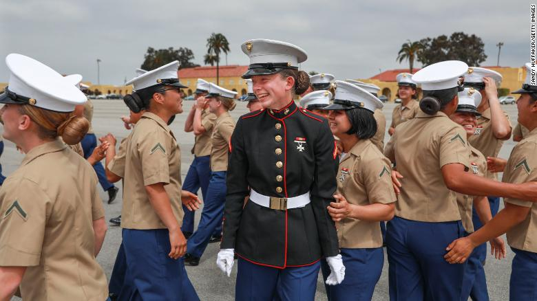 A platoon of female Marines made history by graduating from this San Diego boot camp