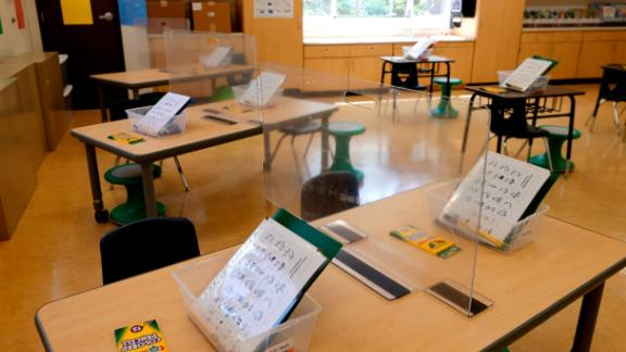 A first-grade classroom at Bryant Elementary School  in San Francisco is set up awaiting the return of students last month.