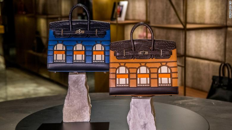 """Prive Porter is currently selling a pair of """"day and night"""" limited editions of the Faubourg Sellier Birkin handbags for $450,000."""