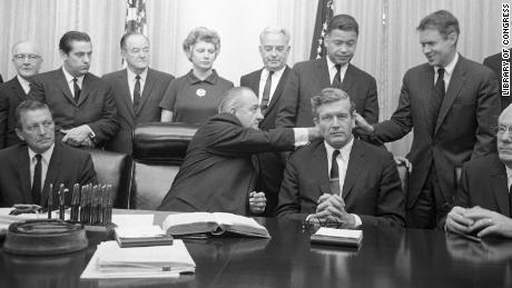 President Lyndon B. Johnson with some members of the National Advisory Commission on Civil Disorders (Kerner Commission) in the Cabinet Room of the White House on July 29, 1967.