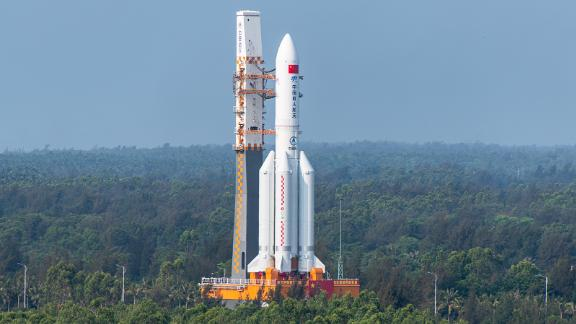 WENCHANG, CHINA - APRIL 23: A Long March-5B Y2 rocket carrying the core module of China's space station, Tianhe, stands at the launching area of the Wenchang Spacecraft Launch Site on April 23, 2021 in Wenchang, Hainan Province of China. (Photo by VCG/VCG via Getty Images)