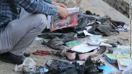 Le site de Kaboul où des dizaines de personnes, dont de nombreuses écolières, ont été tuées samedi.