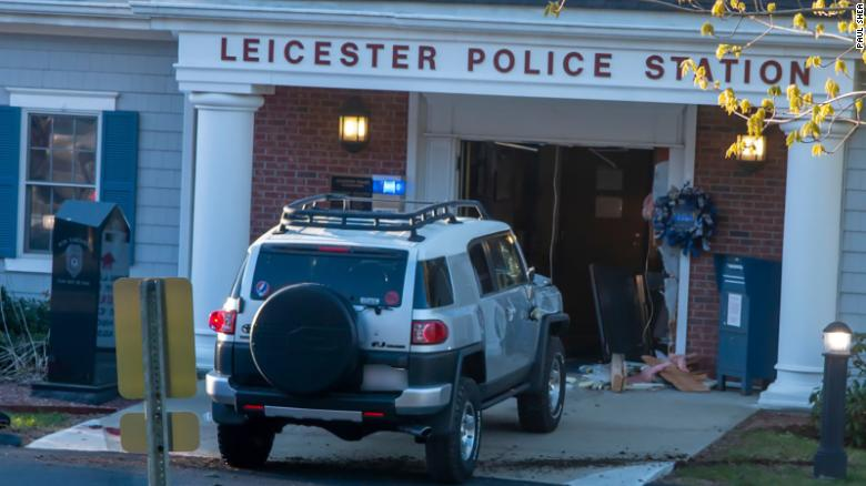 Officers fatally shoot man who rammed his SUV into a Massachusetts police station, district attorney says